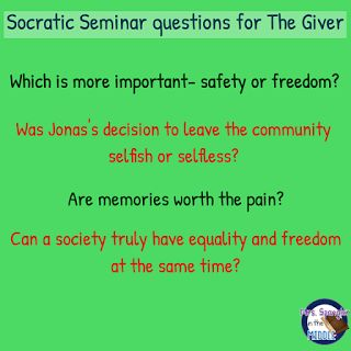 Super Socratic Seminar questions for The Giver!