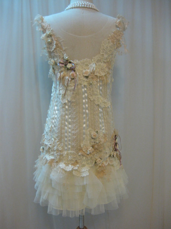 Custom Made Cream Lace Fairy Dress, with Rosettes Dress by Madabby on Etsy, $238.00
