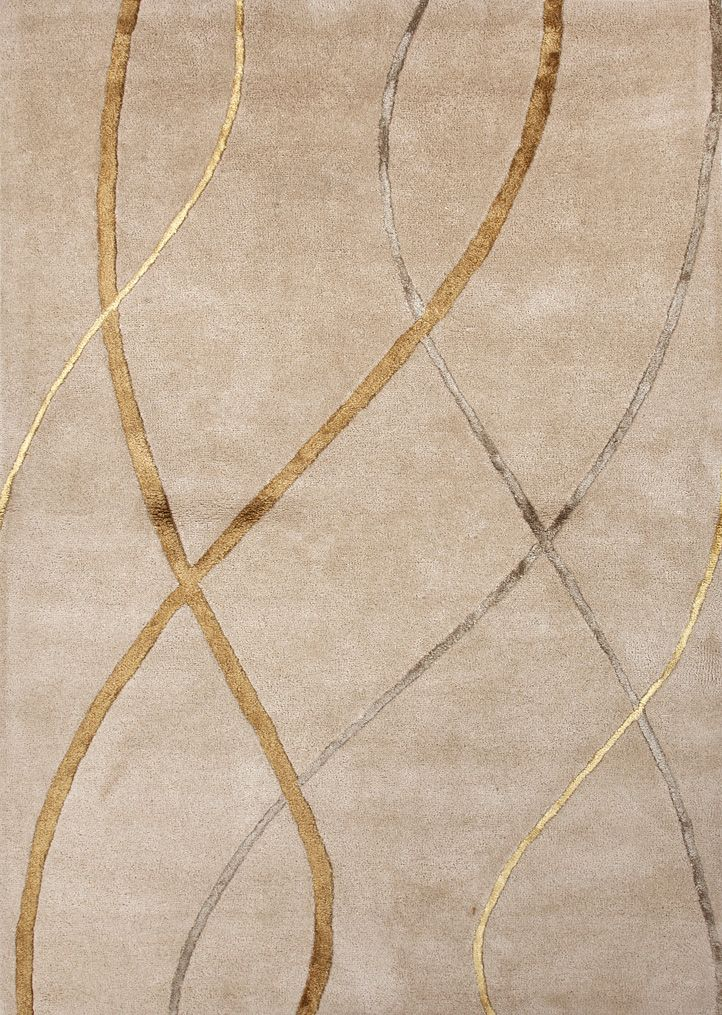 Perfect Gold Rug With Multicolor Modern Design. Free Shipping.