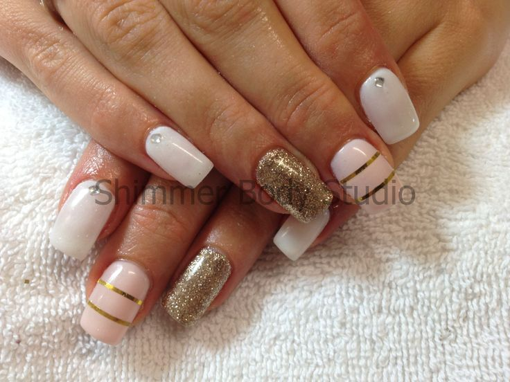 214 best nails full colour images on pinterest studio studio gel nails white and gold nails glitter feature nail gold striping tape nail prinsesfo Images