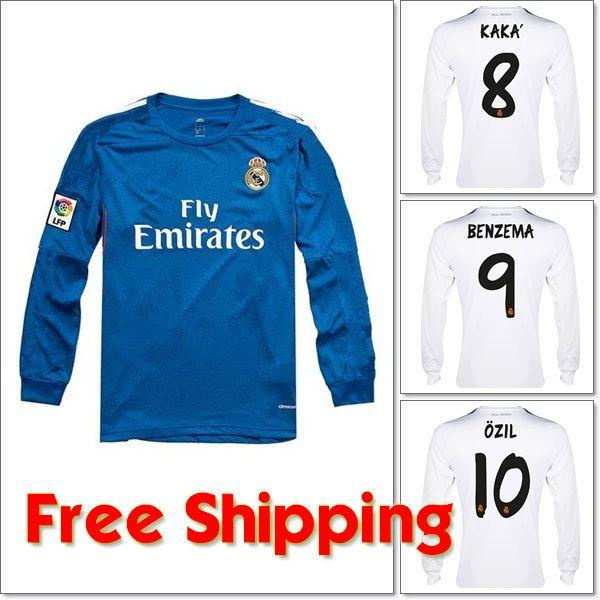 13 14 Real Madrid Long Sleeve Jersey, 2014 Home/Away/Third Kit, Ronaldo Bale Ozil Isco Soccer Shirt/Uniform, Top Thai Quality $6.90 - 23.90