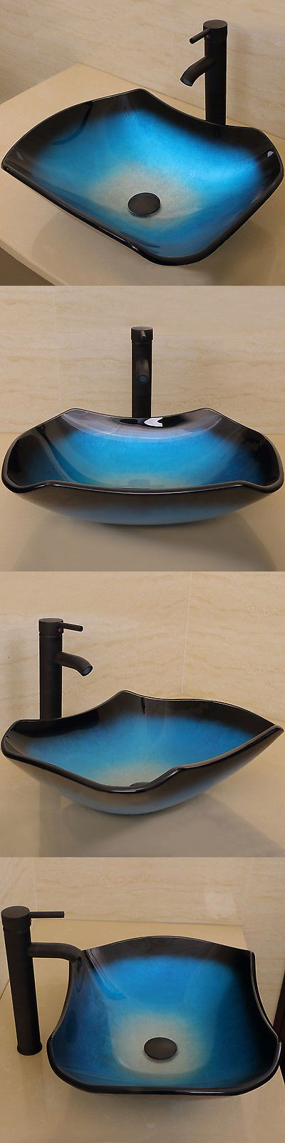 Sinks 71283: Bathroom Vessel Sink Tempered Glass W Oil Rubbed Bronze Faucet Combo Wave Blue -> BUY IT NOW ONLY: $90.99 on eBay!