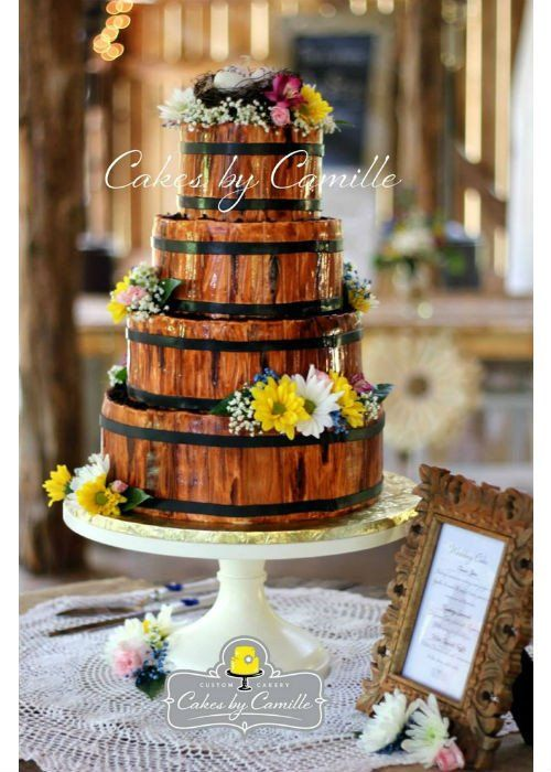 Barrel of Fun Cake on a White 14 inch Cake Stand