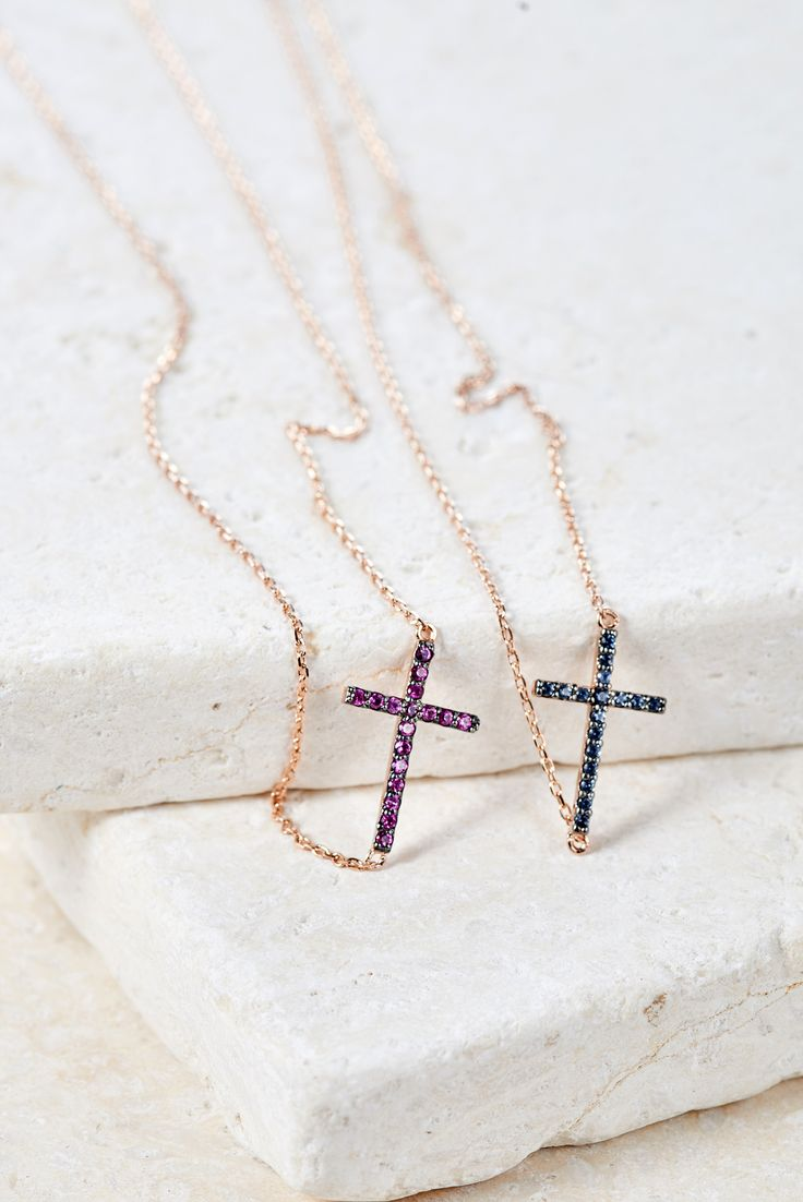 HORIZONTAL CROSS NECKLACE $44.00 - $56.00 Make a beautiful and bold statement with this beautiful cross pendant featuring elegant Swarovski crystals or natural colored gemstones. 14k gold plating over .925 sterling silver with Swarovski crystal pavé, Iolite Blue or Pink Rubies. Adjustable length from 16 to 17 inches. Available in white, rose, and yellow gold. Iolite Blue and Pink Ruby only available in Rose Gold. #bearfruitjewelry