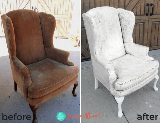 Crackled Painted Fabric Chair | Magic Brush