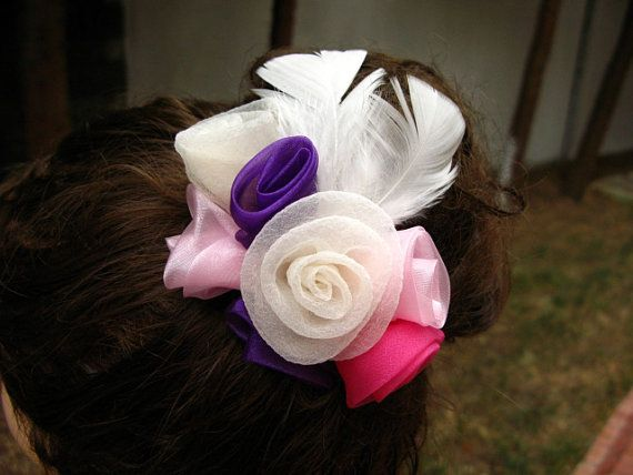 Bridal hair flowers feathers  bouquet for your hair by nezoshop, $20.00