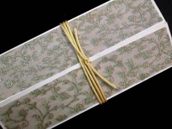 Gate fold invitation with Chiffon Glitter panels.