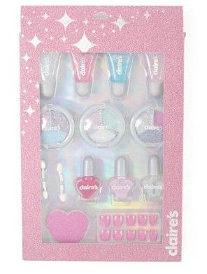 Mega Sparkle Cosmetics Set from Claire's.  Get your sparkle on from head to toe with this mega cosmetics set. The set includes 9 eyeshadows, 4 lip glosses, 3 nail polishes, 2 dual-ended sponge tip applicators, 1 nail file and 10 faux nails.  Get your rebate from RebateGiant.