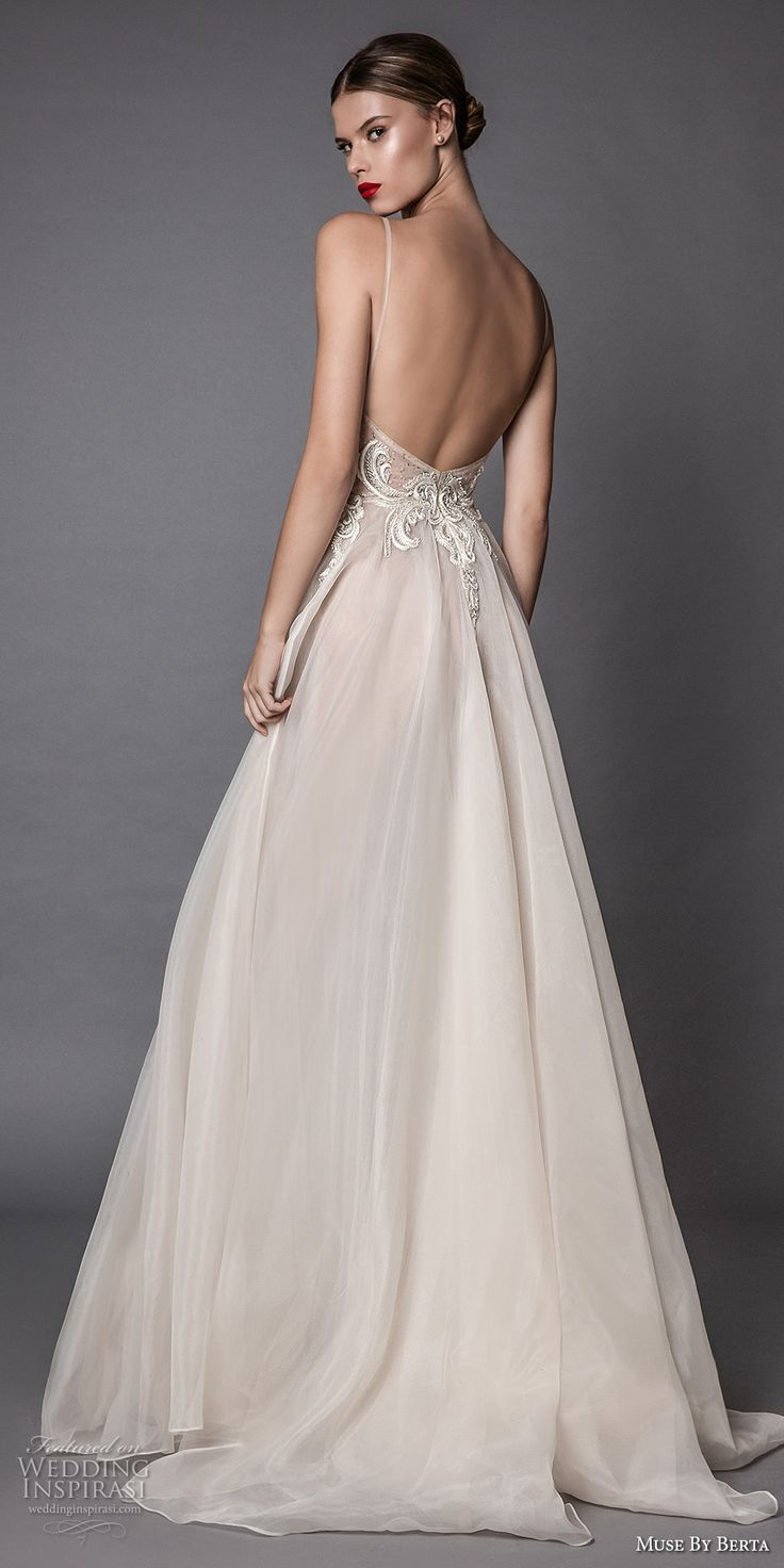 Low Back Flowy Wedding Dress : Wedding gowns heavily embroidered
