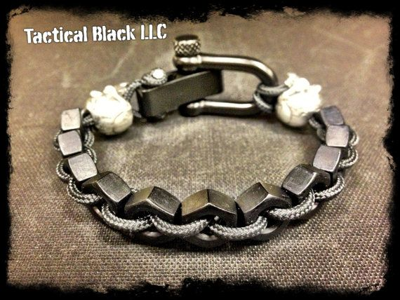 Double Skull and Hexnut adjustable bracelet by TacticalBlackRDS