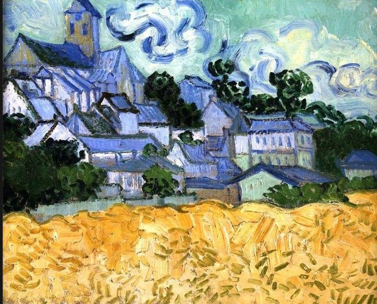 Vincent Van Gogh - View of Auvers-sur-Oise, 1890. Oil on canvas, 34 x 42.1 cm. RISD Museum, Providence, RI, USA