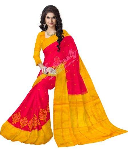 ikat pinc color saree
