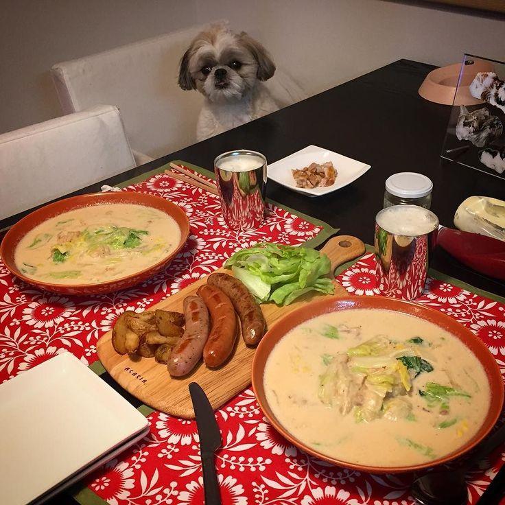 今夜の貴族の晩餐は鶏肉とクタクタトロトロ白菜の中華風クリーム煮と3種の大っきい太っいソーセージ(ω)をヤラカシたよ( ) ではでは( ω)( ω)かんぱーい by mayuge0807