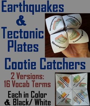 These cootie catchers are a great way for students to have fun while learning about plate tectonics and earthquakes. There are two versions which contain the following vocabulary terms: ♦ Convergent boundary, Divergent boundary, Transform boundary, Subduction zone, Fault, Convection current, Hot spot, Tectonic plate And ♦ Earthquake, Seismic wave, Magnitude, Epicenter, Seismologist, Seismograph, Continental drift, Pangaea