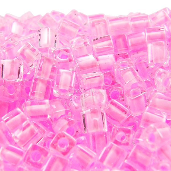 £1.30 - Miyuki 4mm Cube Seed Beads - Colour Lined Pink - 10g