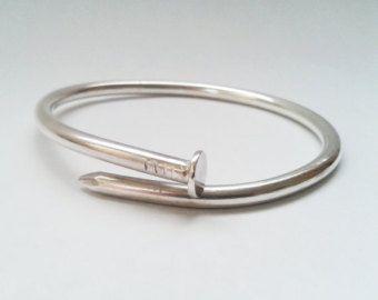 Nagel armband - Sterling Silver - Zilver nagel armband - Bangle