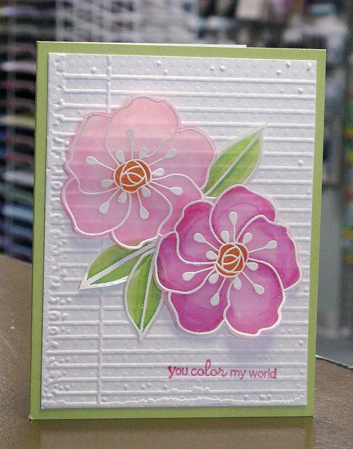 Card Making Ideas Using Vellum Part - 22: Handmade Card ... Delight Vellum Flowers ... Embossed White Lines With  Shaded