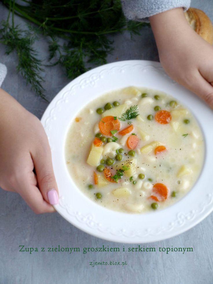 Zupa z zielonym groszkiem i serkiem topionym