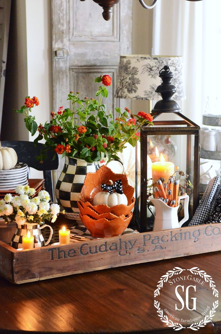 Attractive FALL KITCHEN TABLE CENTERPIECE