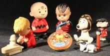 8Pcs Original Vintage PEANUTS TOYS & FIGURINES Snoopy Aviator Lucy Bobblehead Charlie Brown Linus Shroeder Dolls Top Pez Schultz Kids 1960s