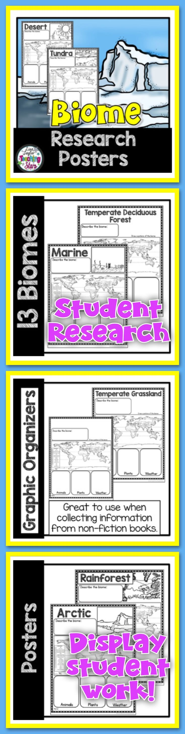 Biome Research Posters will provide graphic organizers students can use while researching about the different biomes. The organizers will help students make a final piece of informational writing using the information they have collected.   Biomes Included:  Desert Tundra Savanna Rainforest Arctic Temperate Deciduous Forest Marine Temperate Grasslands Chaparral Freshwater Taiga Coral Reef Alpine Blank Sheet