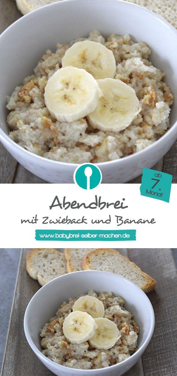 Rezept für Abendbrei mit Zwieback und Bananen. Geeignet für Babys ab dem 7. Monat und prima um ihn unterwegs zuzubereiten.