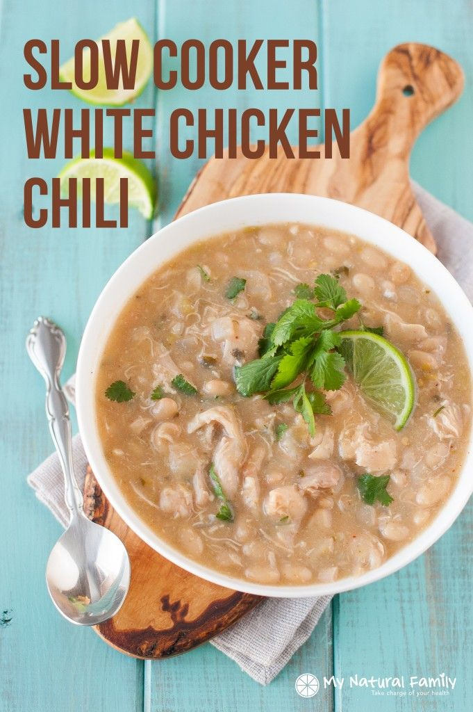 Slow Cooker Clean Eating White Chicken Chili Recipe {Clean Eating, Gluten Free, Dairy Free}