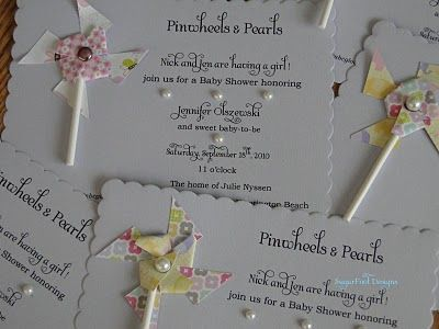 SugarFoot Designs: DIY: Pinwheels & Pearls Babyshower Invitations!