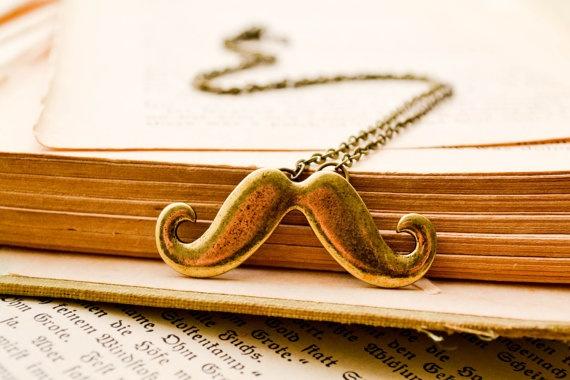 Mustache Brass Necklace $19.00