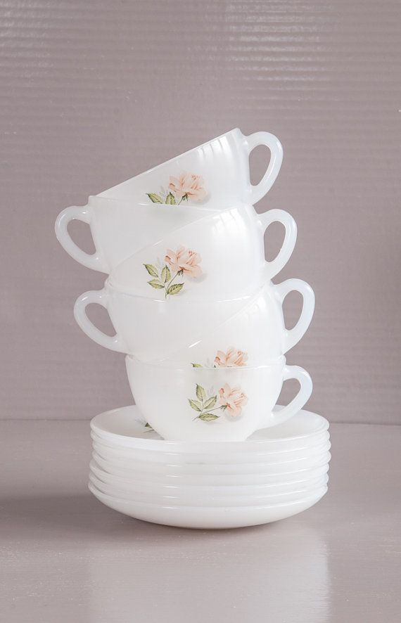 Vintage French Milk glass Tea Set. 6 Arcopal tea cups and saucers chez SoFrenchBrocante