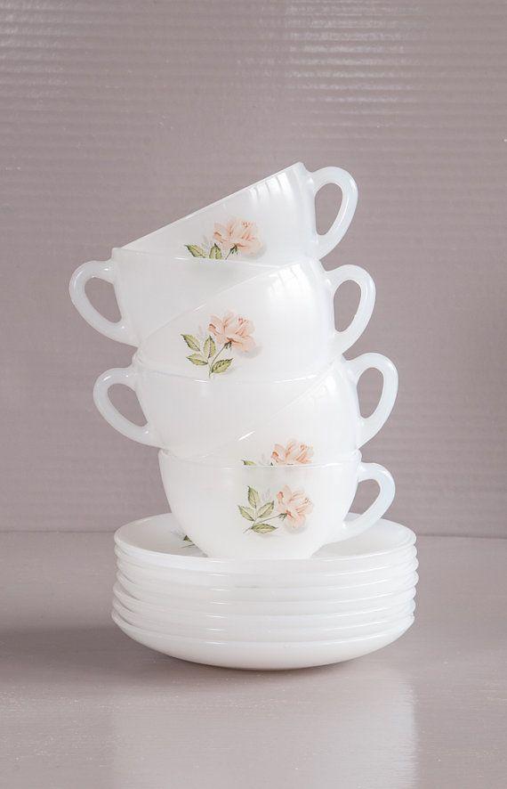 Vintage French Milk Glass Tea Set 6 Arcopal Tea Cups And