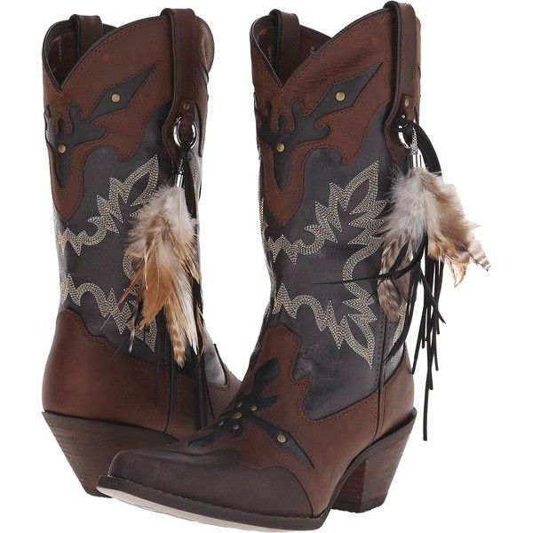 Durango Crush 12 w/ Feather (Brown/Black) Cowboy Boots ($120) ❤ liked on Polyvore featuring shoes, boots, brown, brown cowgirl boots, black shoes, durango boots, antique cowboy boots and embroidered boots