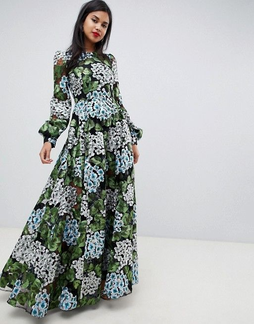 d379011011ea06 EDITION embroidered maxi with blouson sleeve   open back