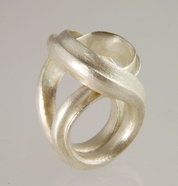 "Ring | Michael Carberry.  ""Flourish"",  Forged fine silver"