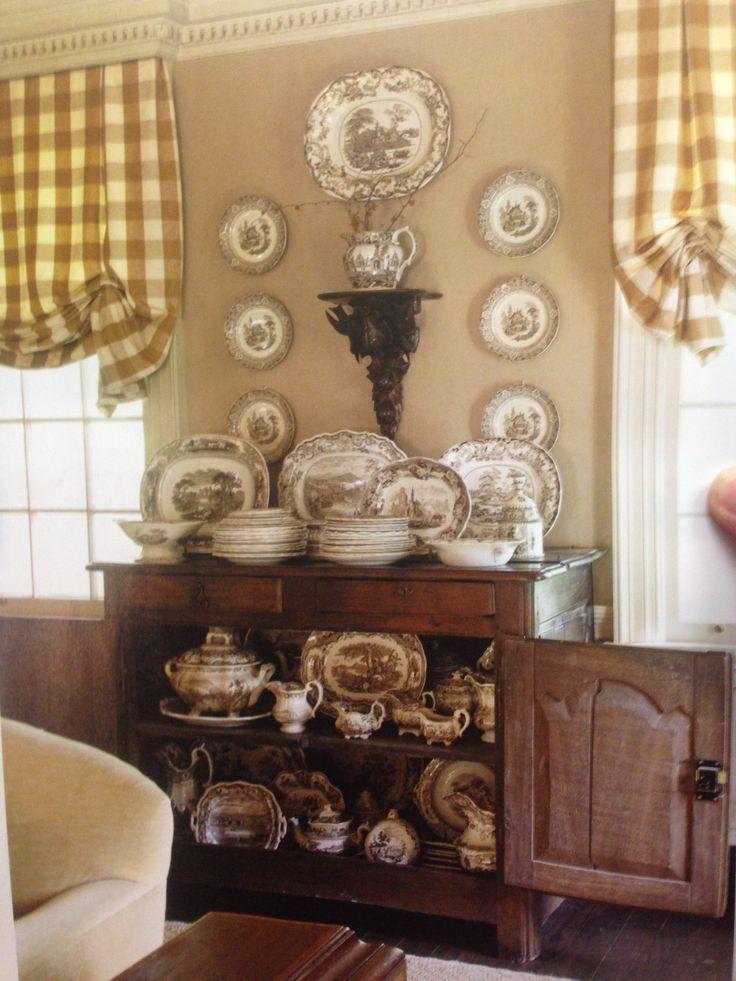 Buffalo check curtains and brown & white transferware