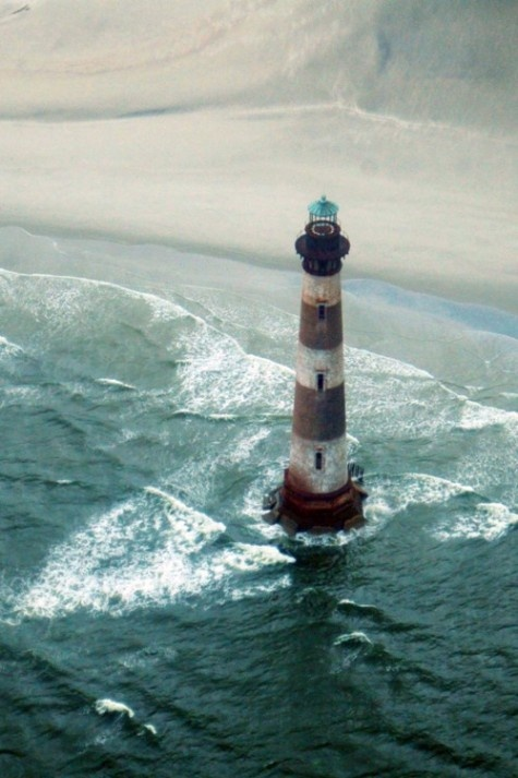 """Morris Island, Charleston, SC  Setting for the movie """"Glory""""--erosion has now placed the lighthouse, as you can see, in the water."""