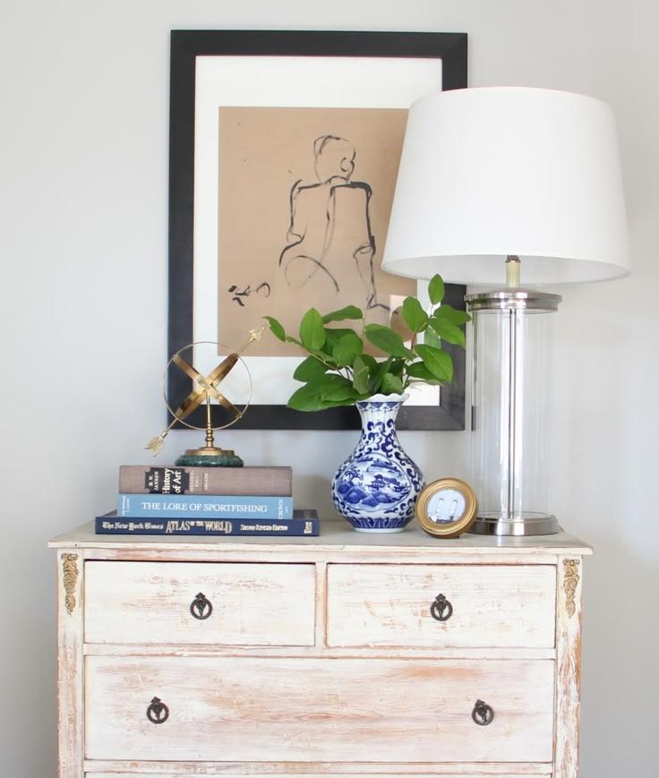 odds n ends: a antique dresser, thrifted vase and etsy print