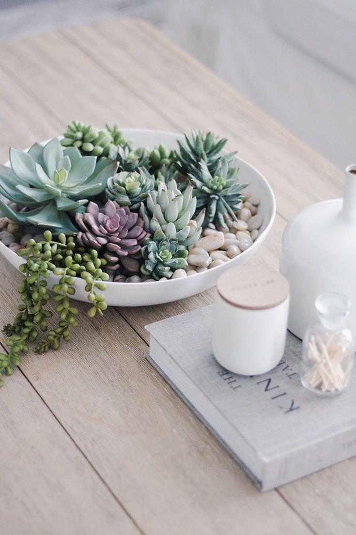 Diy Your Very Own Faux Succulent Arrangement For Simple Coffee Table Decor For Your Home Faux Succulents Arrangements Fake Succulents Decor Succulents Decor