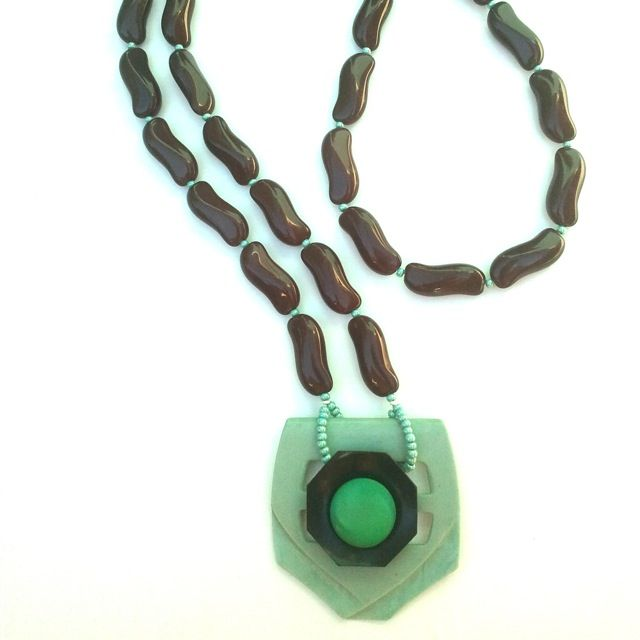 Vintage Button Pendant Beaded Necklace by Etelage...jade, pea green jet and burgundy.