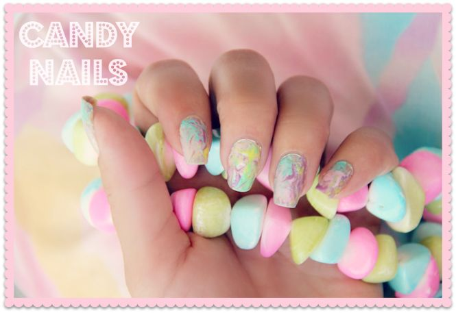 Manicure of the week: Candy Nails | pastel color marble nails, marble nails ideas, Easter nails ideas