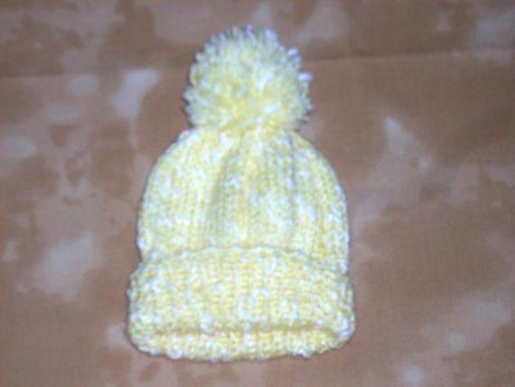 Newborn baby hat, Lemon Babies Wool Hats, Girl's Head wear, Boys knitted hat, hand knit woollen hat, hand made beanie, Chapeau, pompom hat,
