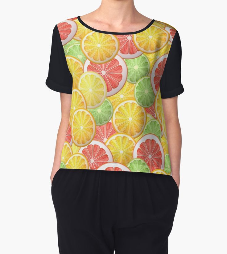 """Citrus pattern"" Chiffon Tops by Maria-So 