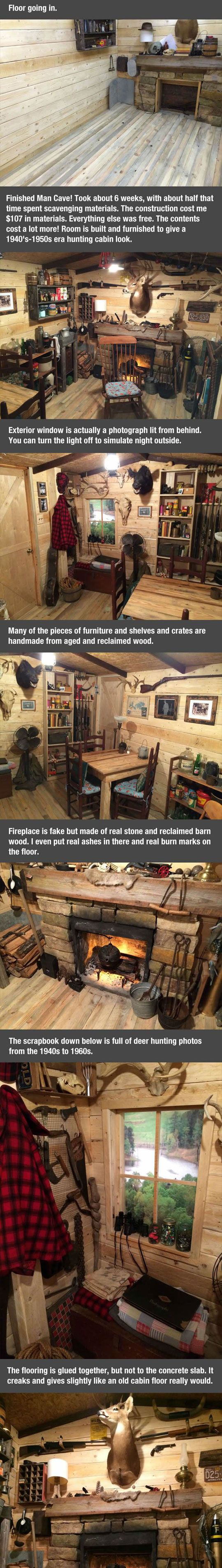 Now that's a Man Cave! Guy fixed up a windowless basement to look like an old cabin. Wicked cool.