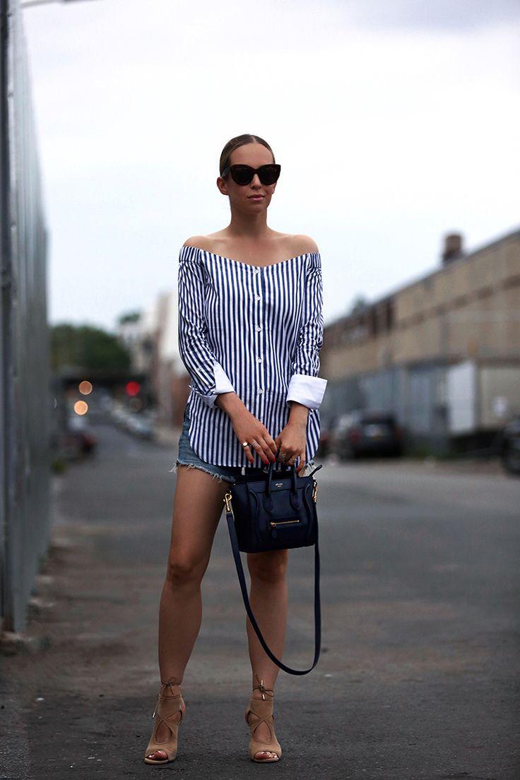 Business & Pleasure - Rag and Bone Off the Shoulder Top | Cutoffs: Vintage Levis | Shoes: Aquazzura Sexy Thing' | Bag: Celine Nano | Sunglasses: Celine July 6, 2016