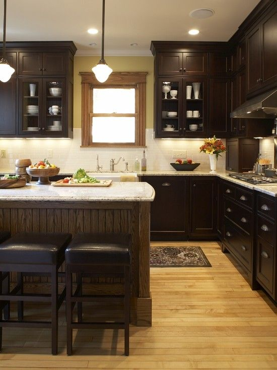 Dark kitchens design pictures remodel decor and ideas for Chocolate brown cabinets
