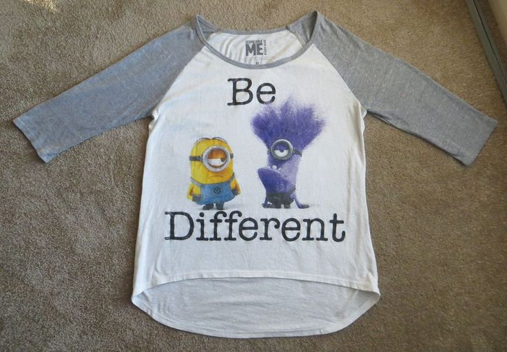 "DESPICABLE ME MINION SHIRT ""BE DIFFERENT"" 3/4 Sleeves Size M #MinionMade"