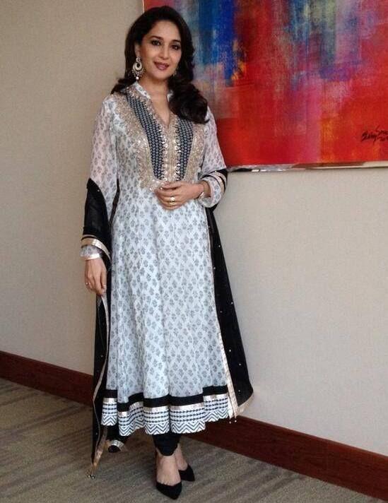 Madhuri Dixit in Black and White V Neck Anarkali Salwar Kameez of Anita Dongre