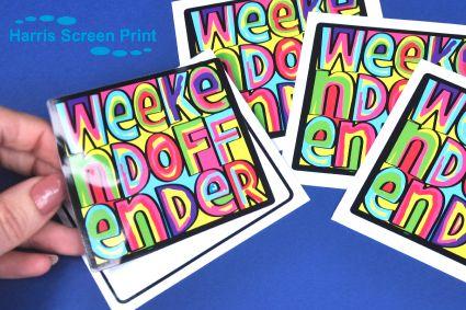 Waterproof vibrant stickers printed using UV stable inks onto gloss permanent adhesive vinyl