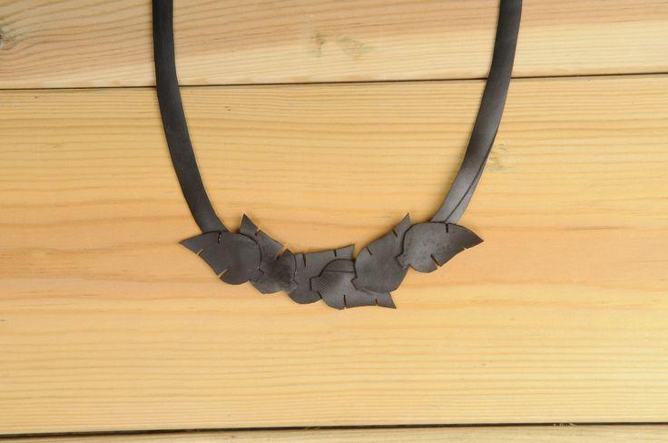 Leaves inner-tube necklace