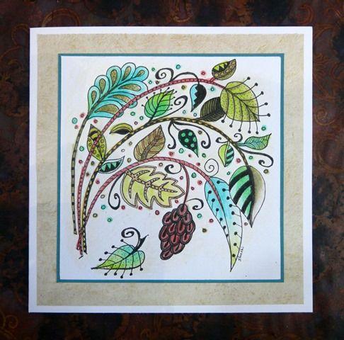 Florabunda card colourd with Inktense pencils. Stylised leaf design.